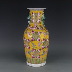 Antique QingDynasty porcelain vase,Pastel yellow peach bottle,Hand-painted crafts,Decoration,Collection&Adornment