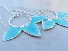 turquoise enamel earrings from jewelrybymichal on etsy