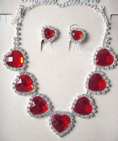 Romantic Alloy with Red Heart Rhinestone Wedding Jewelry Set-(Including Necklace and Earring)