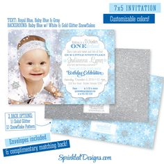 Winter ONEderland Invitation Photo Card - Girl Boy Twins Baby Blue Royal Blue Silver Glitter Snowflakes Snow - 1st First Birthday Invitation by SprinkledDesigns.com