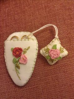 Scissor case with matching scissor fob - Brazilian style embroidery. Designed and worked by Ann Stalley