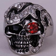 Stainless steel skull gothic ring for men women biker heavy punk jewelry gifts W/ crystal antique silver dropshipping Punk Jewelry, Skull Jewelry, Gothic Jewelry, Antique Jewelry, Jewelry Gifts, Jewelry Watches, Men's Jewelry, Silver Jewelry, Jewelry Accessories