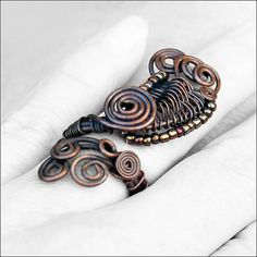 Adjustable ring Copper ring Wire wrapped copper ring by SweetlyART