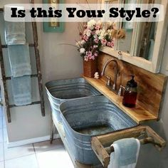 Farmhouse Bathroom Ideas - Rustic Bathroom Decor and Farmhouse Bathroom Storage Inspiration. 63724744 Blue And Yellow Bathroom Decor. Dont Forget The Bathroom When Home Decorating House Design, New Homes, Rustic House, Sweet Home, Decor, Modern Furniture, Rustic Bathrooms, Interior, Home Decor