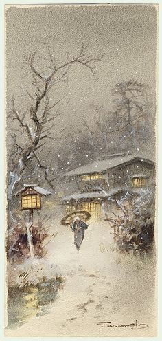 Fukutaro Terauchi (1891 - ?)  Japanese Watercolor on Paper   Falling Snow