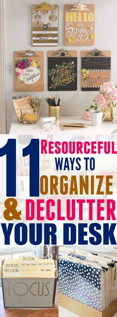 diy organization Improve your productivity and stay focused on your work by using these 11 desk organization hacks to organize your desk! Get rid of clutter and make your desk stand out! Organisation Hacks, Organizing Hacks, Home Office Organization, Organizing Your Home, Home Office Decor, Home Decor, Office Ideas, Desk Ideas, Ikea Hacks