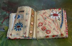 'Needlewomen' original 1930s fabric, ephemera and stitch (click to enlarge)