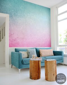 """Wall Mural """"Ombre"""" effect #wallmural #ombre #pink #turquoise"""