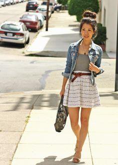 everything-hair, denim jacket, belt, skirt...ugh it's love<3