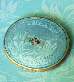 1930s Bliss Brothers Guilloche Compact Antique Blue Vintage Rose Detail Oval Rouge Face Powder Art Deco #vintage