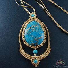 "Beige Macrame Necklace ""Turquoise Dream"""