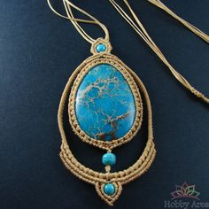 "Beige Macrame Necklace ""Turquoise Dream"""