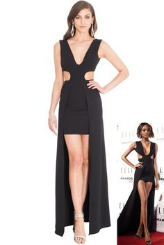 436738bf16ff V Neckline 2-in-1 Maxi Dress - Black - Front - DR570 Jourdan