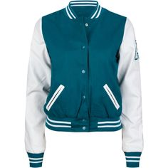 ASHLEY Faux Leather Sleeve Womens Varsity Jacket (96 BRL) ❤ liked on Polyvore featuring outerwear, jackets, varsity jackets, shirts, chaquetas, teal blue, pocket jacket, striped jacket, blue jackets and teddy jacket