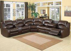 SAMARA Whatever you need, the Samara sectional has – and more. A sweet chocolate reconstituted leather covers full back cushioning and structured seats for the last word in comfort. The Samara is comprised of dual manual reclining loveseat and sofa sections and a comfy corner wedge. The sofa includes a pull down table with cup holders while the loveseat also includes a storage console and cupholders.