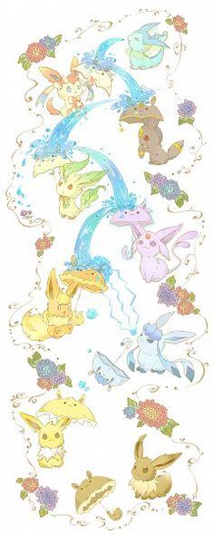 vaporeon, sylveon, umbreon, leafeon, espeon, flareon, glaceon, jolteon, eevee, pokemon