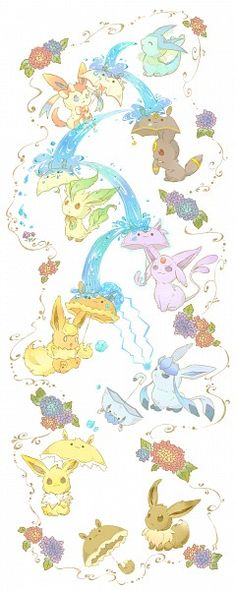 Tags: Anime, Pokémon, eevee, Flareon, Jolteon, Vaporeon, Umbreon, Espeon, Leafeon, Glaceon, Sylveon, eevee evolution