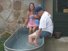 Water trough hot tub