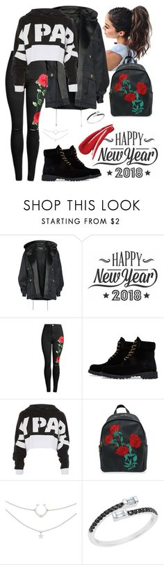 """black& rose"" by amelia-1sasha1 ❤ liked on Polyvore featuring Balmain, Cricut, Timberland and Topshop"