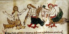 Sirens dancing, playing music, double recorder and harp.  English c. 1300 Bestiary.   via