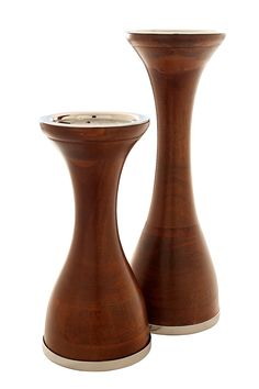 Modernist Wood Pillar Candle Holders with Nickel Polished Platform for Pillar Candles. Elegant Proportions with Smooth Wood Finish. Set of Two Includes Large 12' high and Medium 9' high. ** Want additional info? Click on the image. (This is an affiliate link) #CandlesandHolders