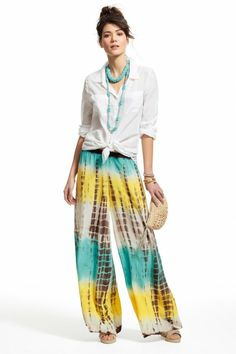 Colorful tie dyed palazzo pants.