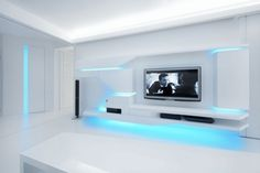 Designed by Next Level Studio. White Apartment is a private residence in Uherske Hradiste, Czech Republic which has amazing futuristic design Futuristisches Design, Tv Wall Design, House Design, Futuristic Interior, Futuristic Design, Futuristic Bedroom, Studios Architecture, Architecture Design, White Apartment