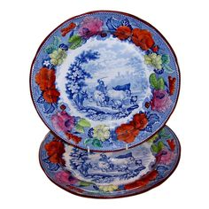 """A Set of a Dozen Mason's Pearlware Dinner Dishes in the """"Drover"""" Pattern   From a unique collection of antique and modern dinner plates at https://www.1stdibs.com/furniture/dining-entertaining/dinner-plates/"""