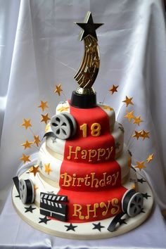 Movie Themed 18th Birthday Cake....I could do this but change it up a little for a theatre theme.