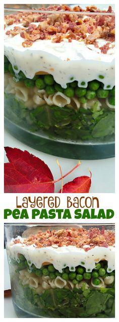 Layered Bacon Pea Pasta Salad