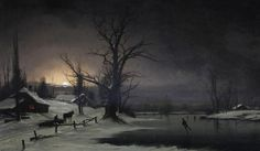 Nils Hans Christiansen (1850-1922) - A winter scene with figures skating on a frozen river