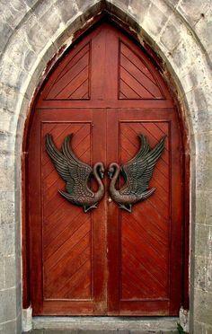 """Drumcliff, County Sligo, Ireland Just look at those """"knockers""""! Cool Doors, The Doors, Unique Doors, Windows And Doors, Door Knobs And Knockers, Door Knockers Unique, Porte Cochere, Door Gate, Grand Entrance"""