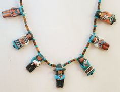 VTG Hand Painted Terra Cotta Clay Charm & Agate Heishi Bead Ethnic Mexican People Necklace Hispanic Southwest Tonala Pottery Jewelry by SweetHeirlooms on Etsy