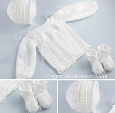 "Baby sweater, body & sleeves worked sideways, round yoke, ""punto de escama"" (Chinese wave, honeycomb, slip stitch honeycomb), ""punto vainica"" (elongated stitches) ~~ El baul del bebe"