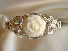 Carved Bone Flower Silver Wire Wrapped Sculptured by glsjewelry, $95.00