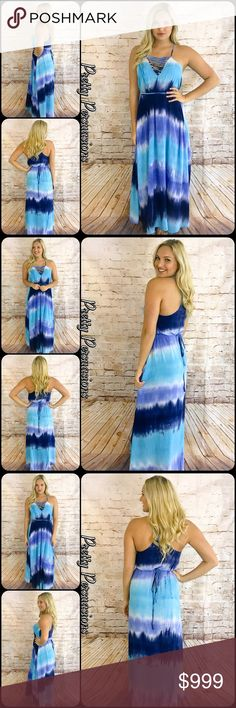 "SALE Blue Tie Dyed Lace Up V-Neck Flowy Maxi Dress Available in S, M, L Measurements taken from a small  Length: 60"" Bust: 28"" Waist: 38""  NOTE: Model is a size 4, modeling a small. Her measurements are: Bust: 34D, Waist: 27""; Hips: 35""  Rayon  Features  • laced up v-neckline  • self tie waist (long enough to wrap twice around, can be tied wherever you choose: front, back, sides...) • spaghetti straps • soft, breathable material  • non sheer • flowy skirt  Bundle discounts available  No pp…"