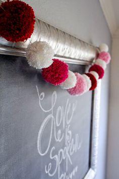 My Name Is Snickerdoodle: Valentine Yarn Pom Pom Garland Valentines Day Decorations, Valentine Day Crafts, Be My Valentine, Holiday Crafts, Valentine Ideas, Holiday Decorations, Pom Pom Garland, Diy Garland, Heart Garland