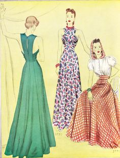 McCall's June 1940 magazine, patterns 3753 and 3771 - Via My happy sewing place