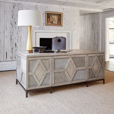 Diamond Executive Desk in Silver by Ambella Home - Home Gallery Stores