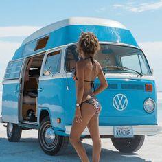 car girls The Power of the VW Bus Bus Vw, Volkswagen Transporter, Bus Camper, Vw T1, Campers, Volkswagen Beetles, Volkswagen Golf, Kombi Trailer, Vw Caravan