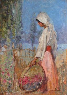 "Nicolae Vermont, ""Micuţa florăreasă"" (""The Little Flower Girl"") Gustave Courbet, Portrait Art, Portrait Paintings, Edouard Manet, Vermont, Impressionist, Beautiful World, Illustration, Old Things"