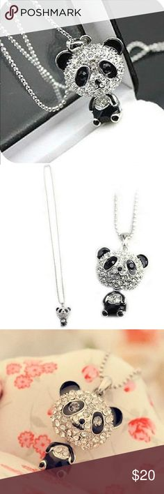 SALE  Panda Pendant Sweater Chain Necklace Super Cute Crystal Panda Pendant Sweater Chain Necklace  100% Brand New and High Quality  Panda's head can be shaken.  Material: Alloy, Rhinestone Ball chain Length: 65cm--26in Pendant size : 3*2cm   Package Included: 1pc Panda Necklace Boutique Jewelry Necklaces