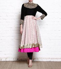 A layered Anarkali kurta with embroidery