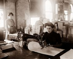 Probably one of the first places women found large scale employment outside the home was in the garment industry. The picture above was taken in about 1900, and is shows a woman working in a sewing factory.