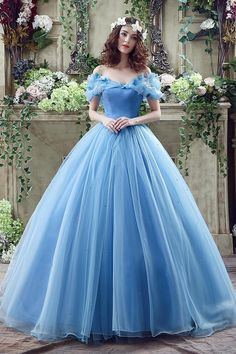 2016 Cinderella Graceful Ocean Blue Tulle Ball Gown Quinceanera Dresses Off…