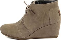 #saucy Toms Women's Desert Wedge Taupe Suede, Size 6