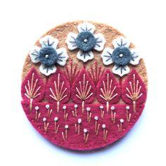 WONDERLAND felt brooch pin with freeform embroidery - scandinavian style