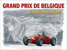 """Grand Prix de Belgique 1952 Faux Poster 24""""x 18"""" archival poster series of 50 © Paul Chenard 2017"""
