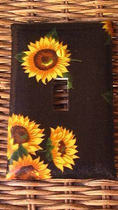 Items similar to Sunflowers on Black Single Toggle Light Switch Plate Cover on Etsy <br> Light Switch Art, Light Switch Plates, Light Painting, Diy Painting, Sunflower Room, Diy Recycling, Paint Matching, Cute Room Decor, Aesthetic Room Decor