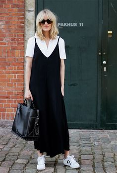 31 Inspiring Outfit Ideas For Every Day in May| slip dress over a t shirt